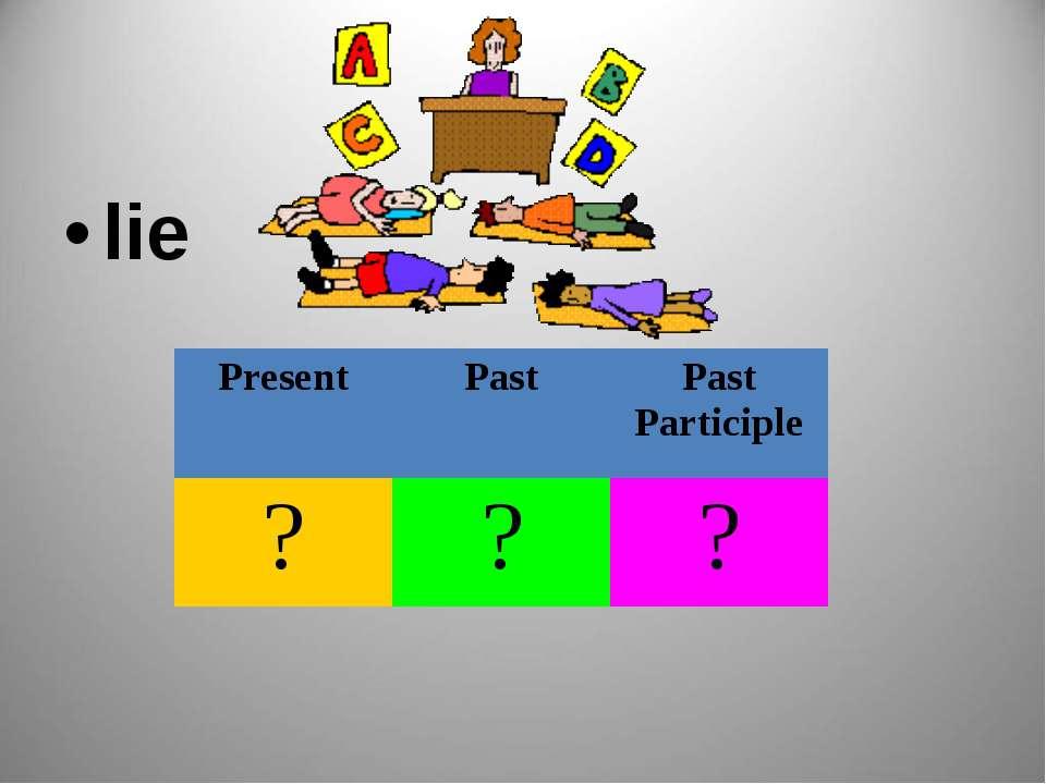 lie Present Past Past Participle ? ? ?