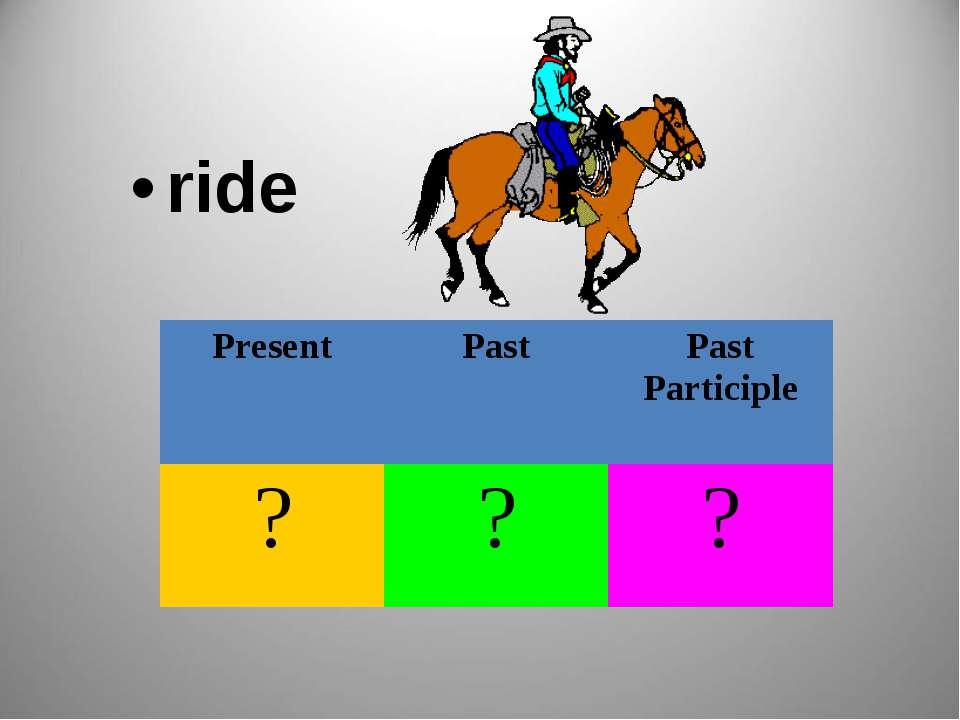 ride Present Past Past Participle ? ? ?