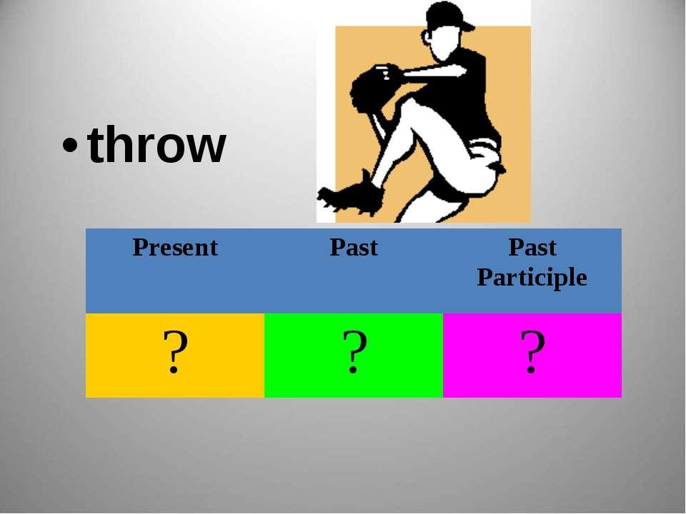 throw Present Past Past Participle ? ? ?