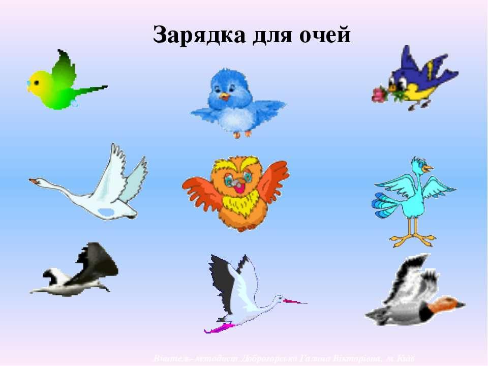 Зарядка для очей Вчитель-методист Доброгорська Галина Вікторівна, м. Київ