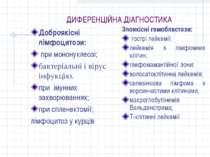 ДИФЕРЕНЦІЙНА ДІАГНОСТИКА Доброякісні лімфоцитози: при мононуклеозі; бактеріа...