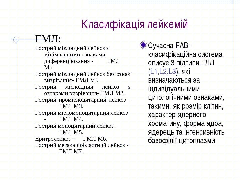 Класифікація лейкемій ГМЛ: Гострий мієлоїдний лейкоз з мінімальними ознаками ...