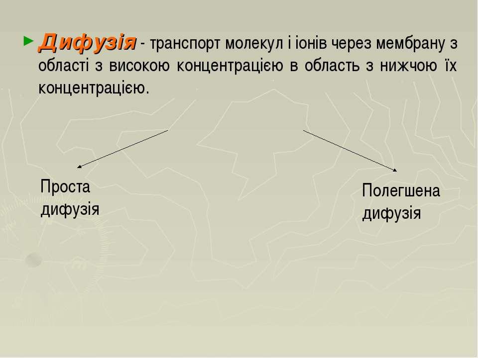 Дифузія - транспорт молекул і іонів через мембрану з області з високою концен...