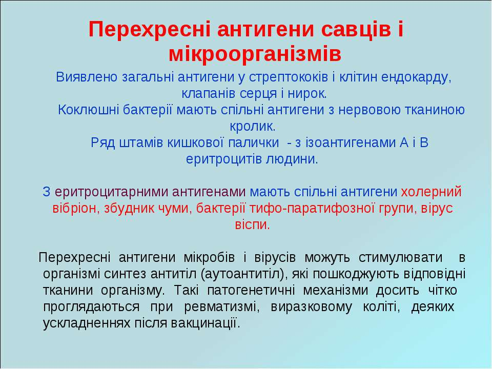 Перехресні антигени савців і мікроорганізмів Виявлено загальні антигени у стр...