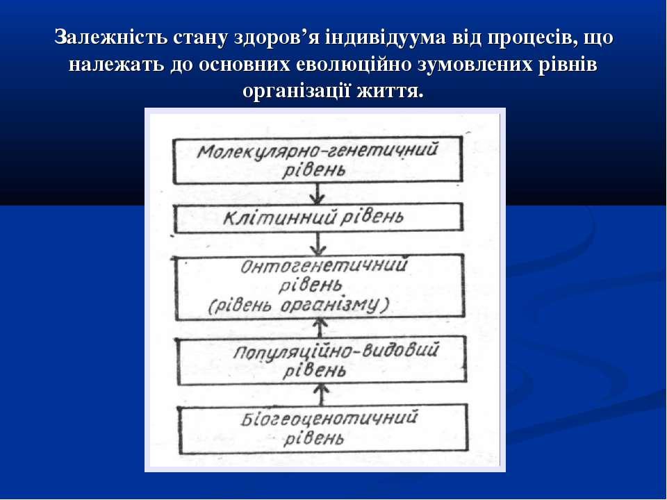 Залежність стану здоров'я індивідуума від процесів, що належать до основних е...