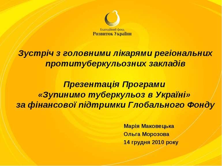 Зустріч з головними лікарями регіональних протитуберкульозних закладів Презен...