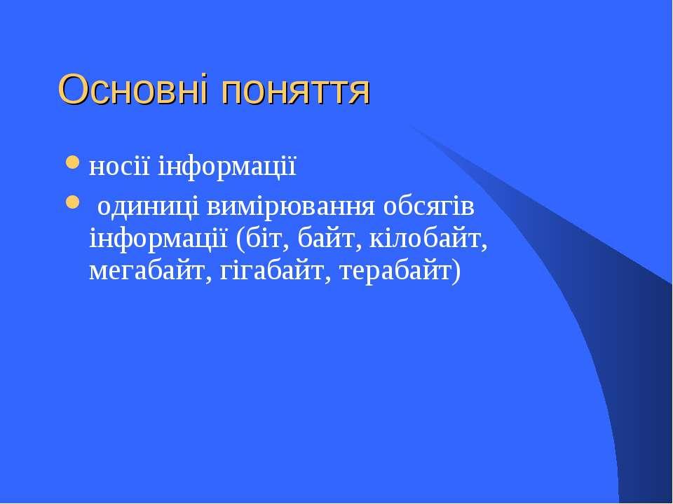 Основні поняття носії інформації одиниці вимірювання обсягів інформації (біт,...