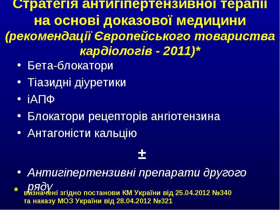 Стратегія антигіпертензивної терапії на основі доказової медицини (рекомендац...