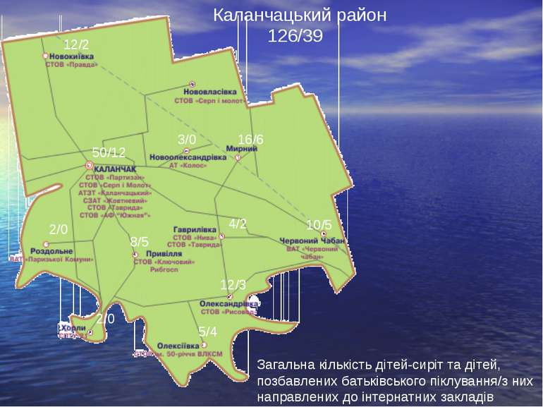 Каланчацький район Загальна кількість дітей-сиріт та дітей, позбавлених батьк...