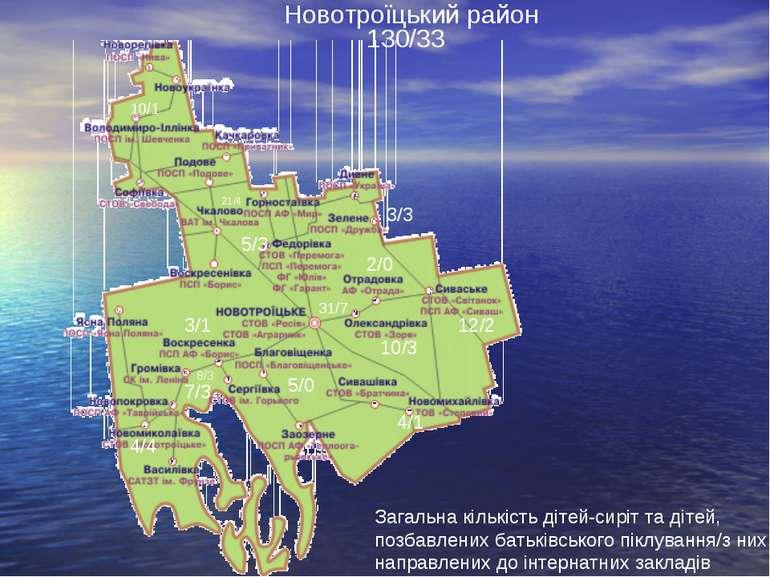Новотроїцький район Загальна кількість дітей-сиріт та дітей, позбавлених бать...