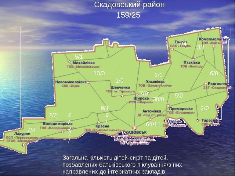 Скадовський район Загальна кількість дітей-сиріт та дітей, позбавлених батькі...