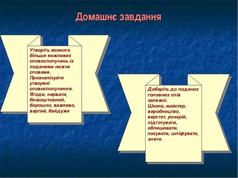 Домашнє завдання Утворіть якомога більше можливих словосполучень із поданими ...