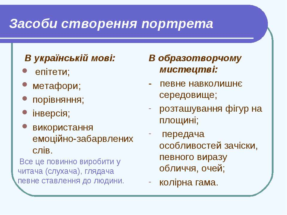 Засоби створення портрета В українській мові: епітети; метафори; порівняння; ...