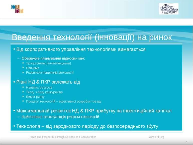 Введення технології (інновації) на ринок Від корпоративного управління технол...