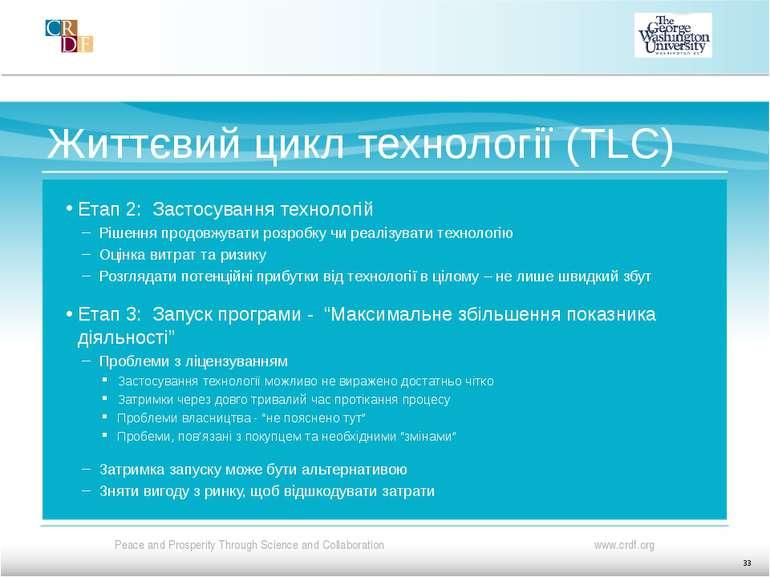 Життєвий цикл технології (TLC) Етап 2: Застосування технологій Рішення продов...