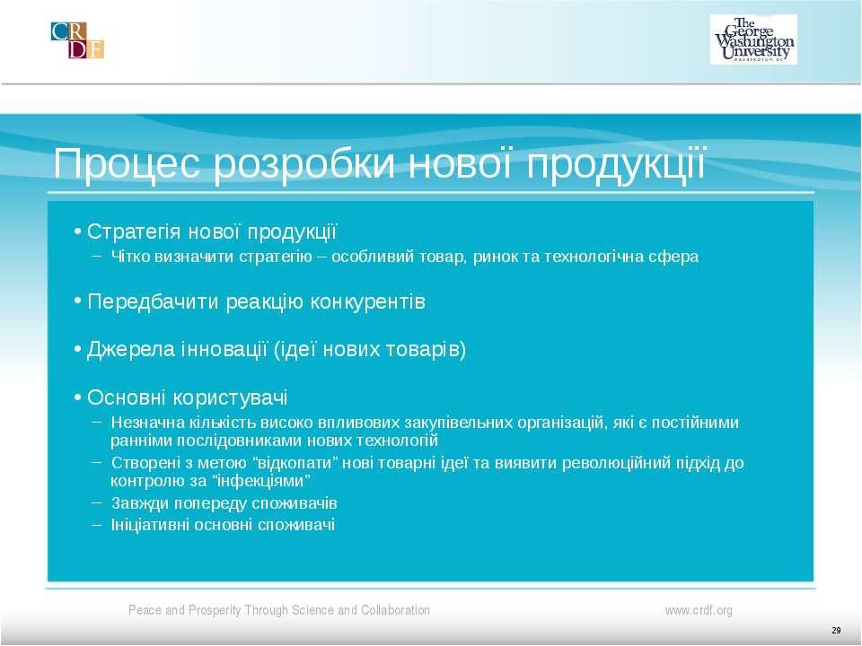 Процес розробки нової продукції Стратегія нової продукції Чітко визначити стр...