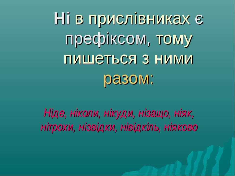 Ні в прислівниках є префіксом, тому пишеться з ними разом: Ніде, ніколи, ніку...