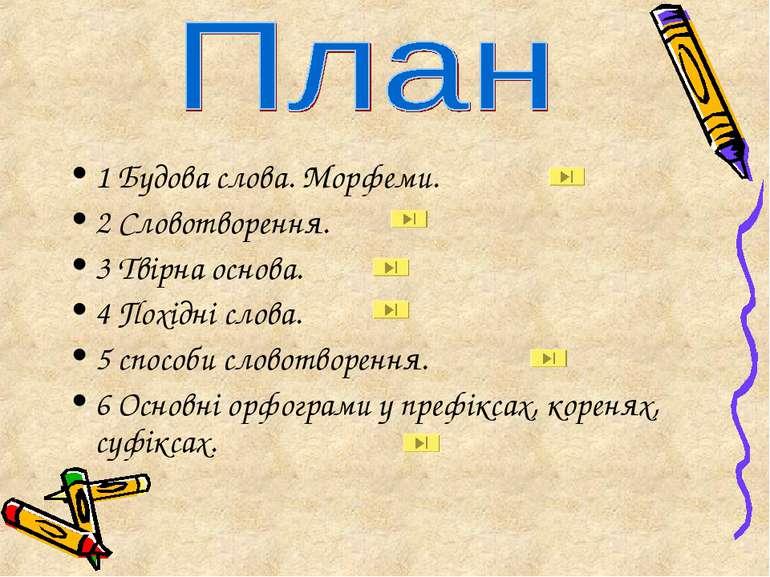 1 Будова слова. Морфеми. 2 Словотворення. 3 Твірна основа. 4 Похідні слова. 5...