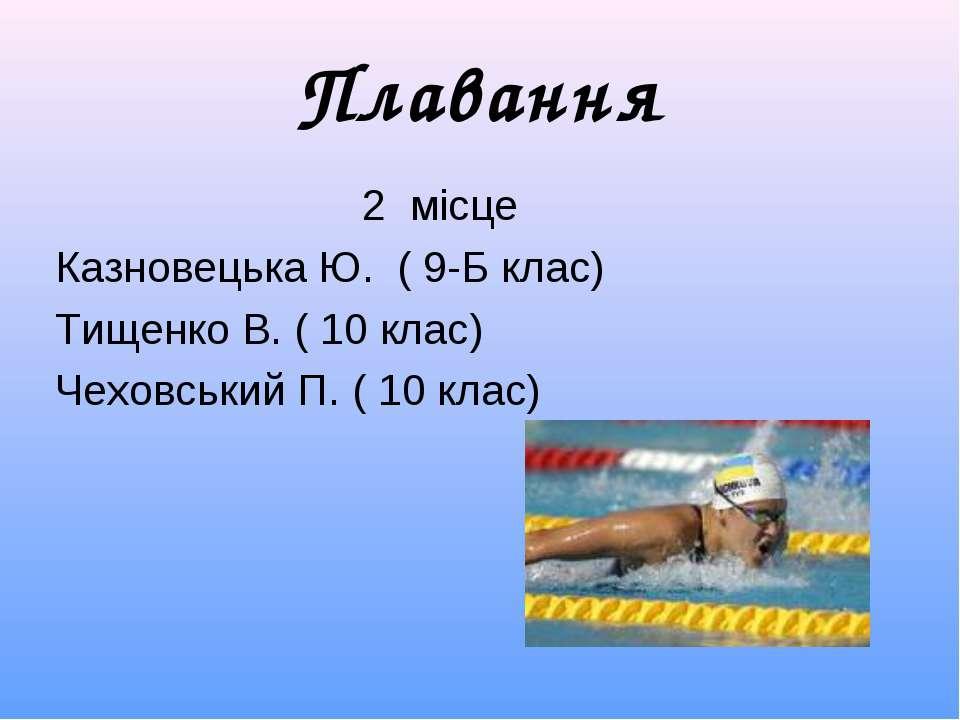 Плавання 2 місце Казновецька Ю. ( 9-Б клас) Тищенко В. ( 10 клас) Чеховський ...