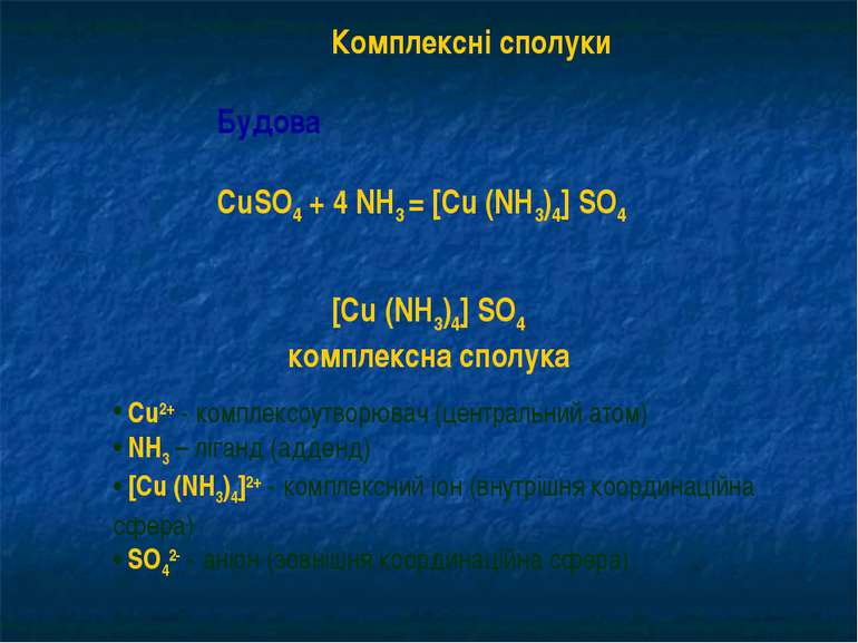 Комплексні сполуки Будова CuSO4 + 4 NH3 = [Cu (NH3)4] SO4 [Cu (NH3)4] SO4 ком...