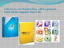 Software is a set of instructions, called a program, which tell the computer ...