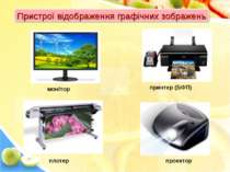 Пристрої відображення графічних зображень монітор принтер (БФП) плотер проектор