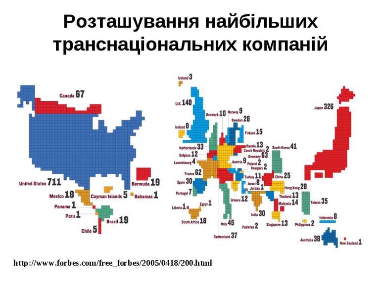 Розташування найбільших транснаціональних компаній http://www.forbes.com/free...