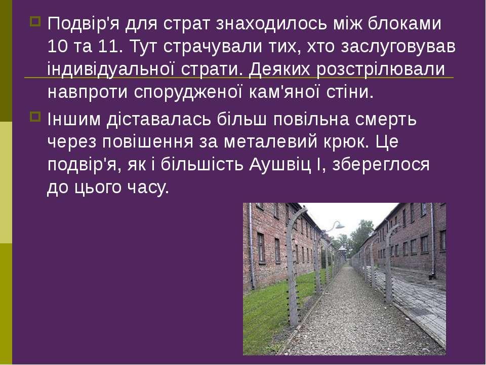 Подвір'я для страт знаходилось між блоками 10 та 11. Тут страчували тих, хто ...