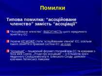 """Помилки Типова помилка: """"асоційоване членство"""" замість """"асоціації"""" """"Асоційова..."""