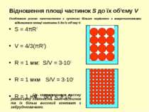 Відношення площі частинок S до їх об'єму V S = 4πR2 V = 4/3(πR3) R = 1 мм: S/...