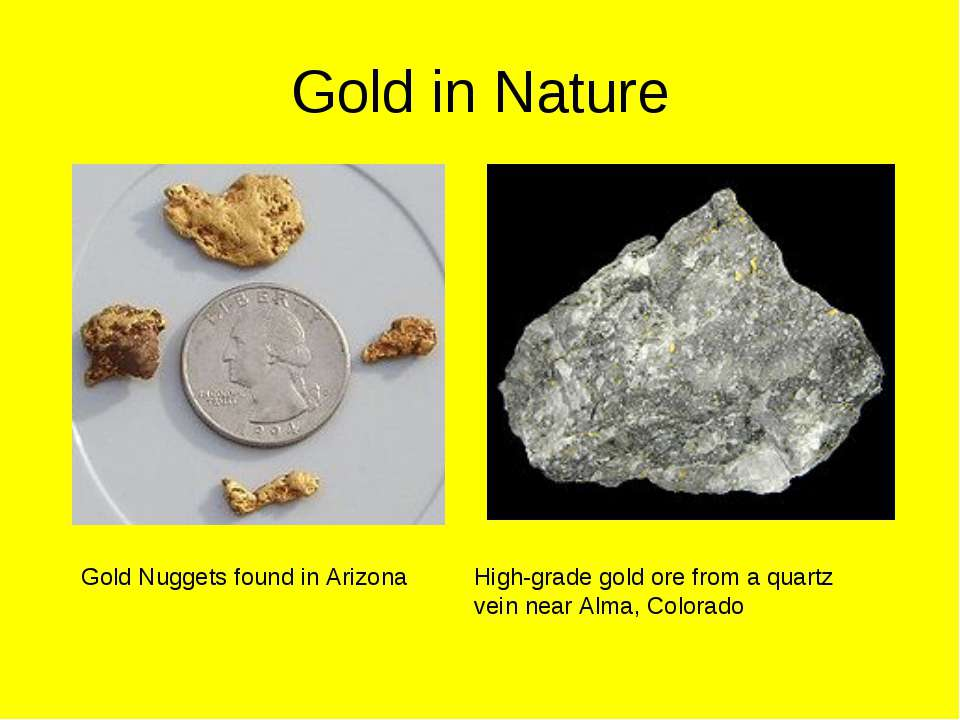 Gold in Nature Gold Nuggets found in Arizona High-grade gold ore from a quart...