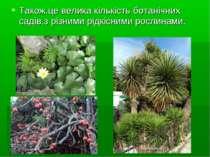 Також,це велика кількість ботанічних садів,з різними рідкісними рослинами.