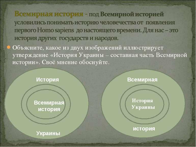 Объясните, какое из двух изображений иллюстрирует утверждение «История Украин...