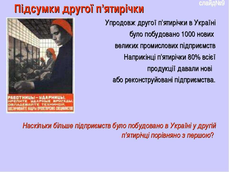 Підсумки другої п'ятирічки Упродовж другої п'ятирічки в Україні було побудова...