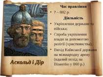 Аскольд і Дір Час правління ? – 882 р. Діяльність Укріплення держави та війсь...