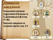 Домашнє завдання: Опрацювати матеріал підручників В.Власова та О.Данилевської...