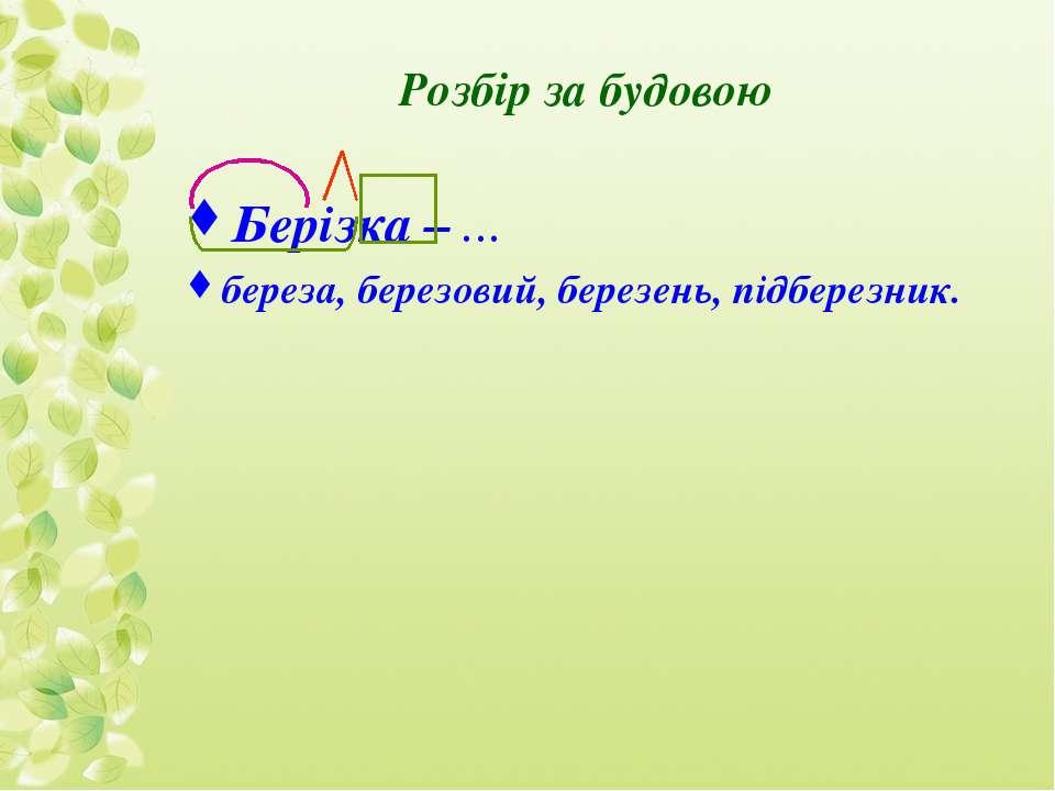 Розбір за будовою Берізка – … береза, березовий, березень, підберезник.