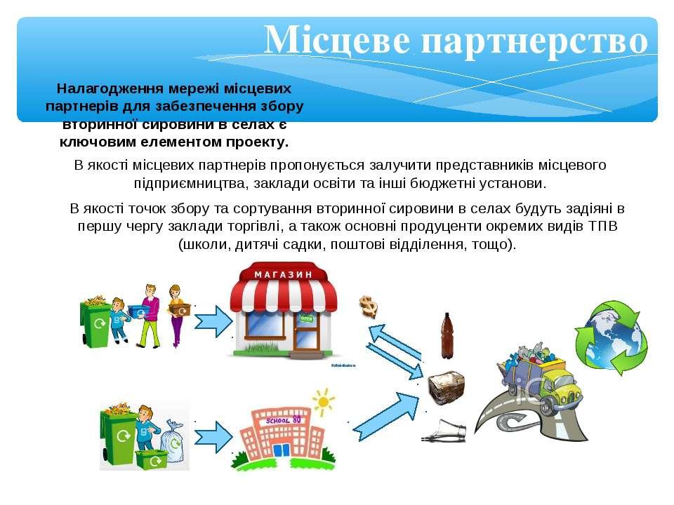 Місцеве партнерство В якості місцевих партнерів пропонується залучити предста...