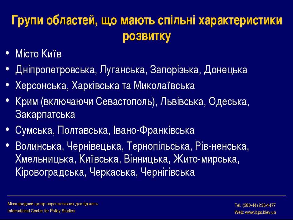 Групи областей, що мають спільні характеристики розвитку Місто Київ Дніпропет...