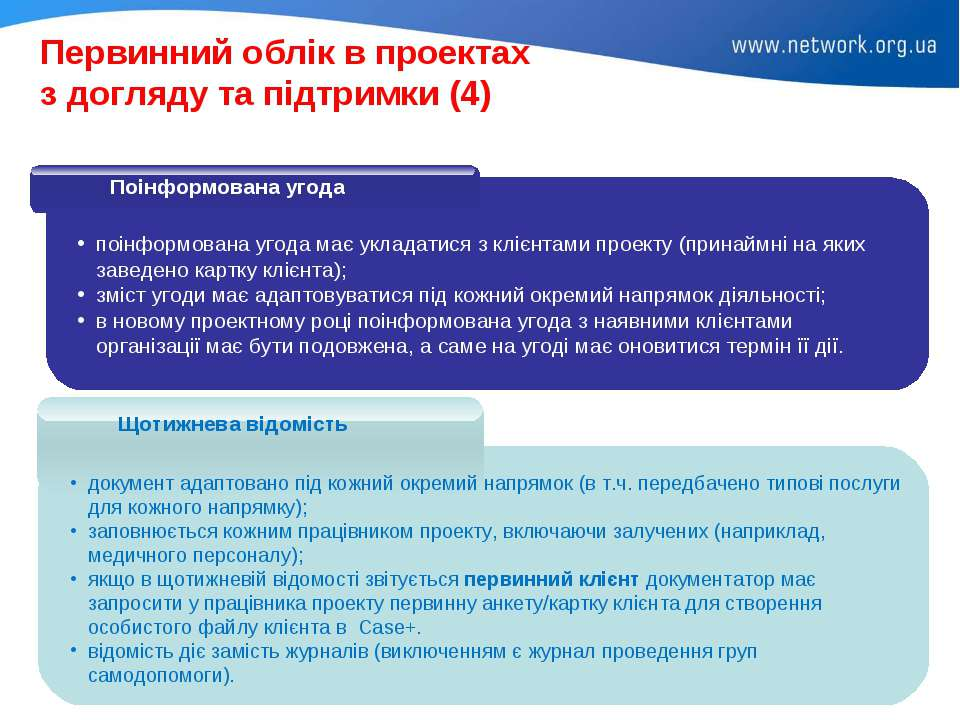 Первинний облік в проектах з догляду та підтримки (4) поінформована угода має...