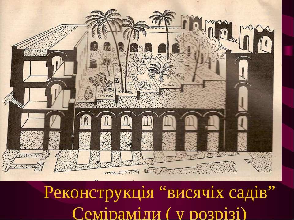 """Реконструкція """"висячіх садів"""" Семіраміди ( у розрізі)"""