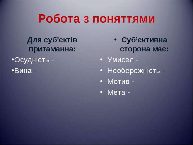 Робота з поняттями Для суб'єктів притаманна: Осудність - Вина - Суб'єктивна с...