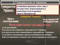2.Гражданство в Украине. а)по рождению; б)в результате приема в гражданство...