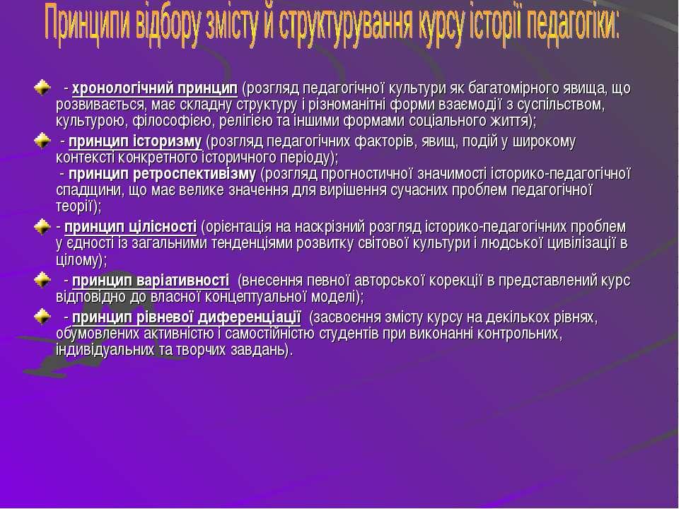 - хронологічний принцип (розгляд педагогічної культури як багатомірного явища...