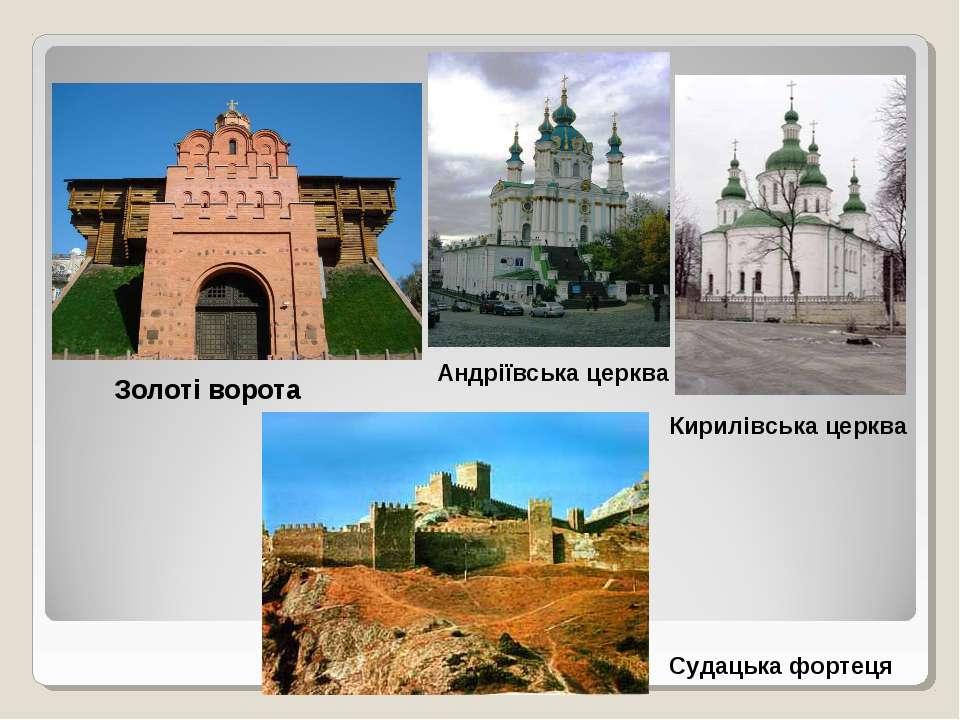 Золоті ворота Андріївська церква Кирилівська церква Судацька фортеця