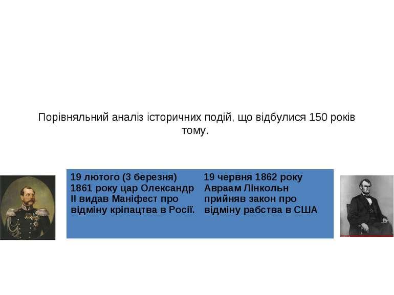 Порівняльний аналіз історичних подій, що відбулися 150 років тому. . 19 лютог...