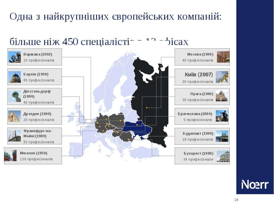 * Одна з найкрупніших європейських компаній: більше ніж 450 спеціалістів в 13...