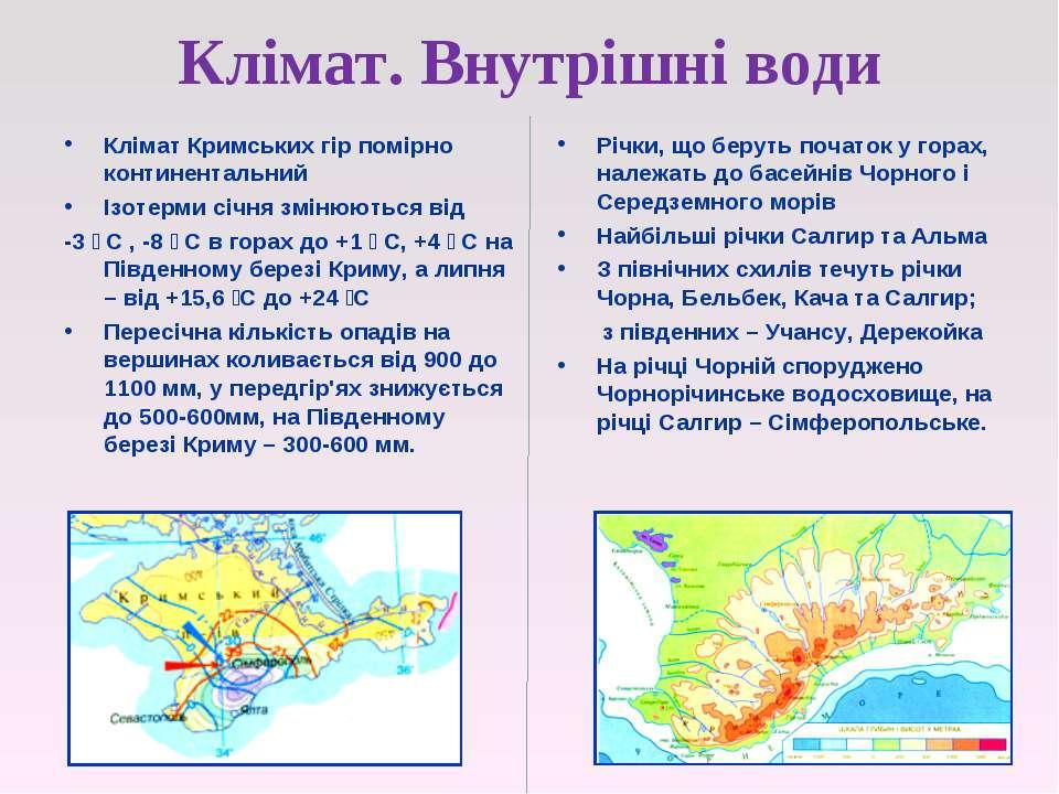 Клімат. Внутрішні води Клімат Кримських гір помірно континентальний Ізотерми ...