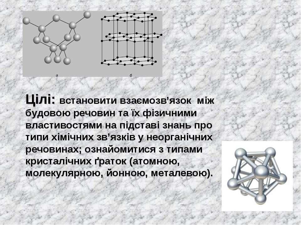 Цілі: встановити взаємозв'язок між будовою речовин та їх фізичними властивост...