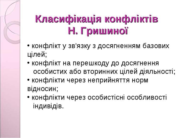 Класифікація конфліктів Н. Гришиної конфлікт у зв'язку з досягненням базових ...